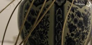 detail van de vaas met deksel van pitriet (OMD-2015 Kunst en Ambacht)